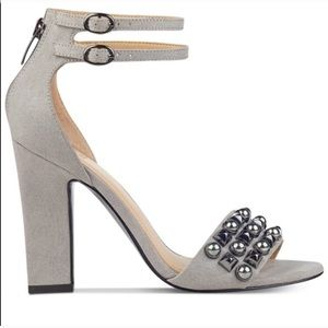 Guess Petunia 2 Gray Studded Strappy Suede Heels